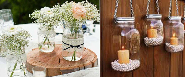 Potes de decoração de casamento